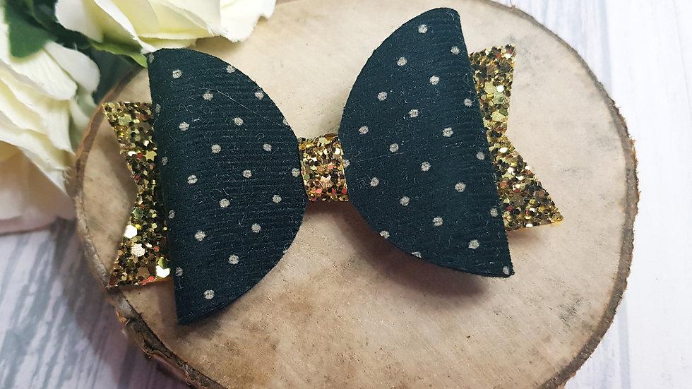 Black spotty hair bow