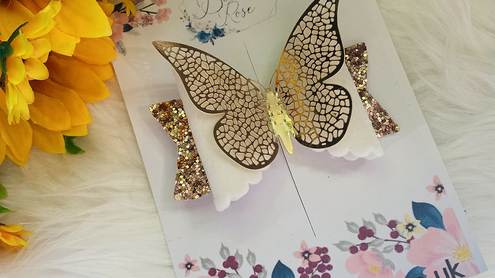 Rose gold and white butterfly bow