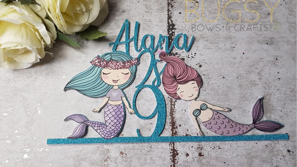 Personalised mermaid cake topper