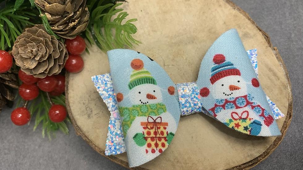 Blue Santa Christmas bow