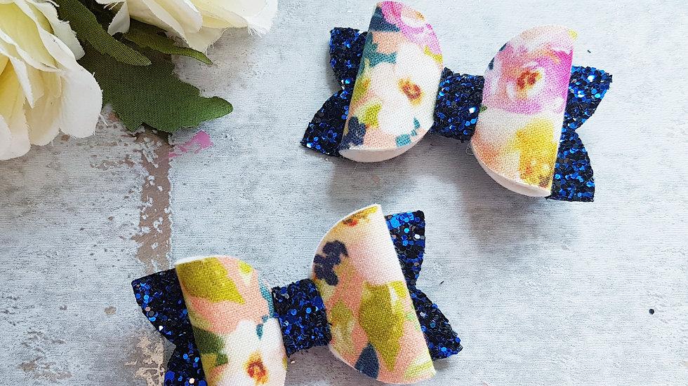 Navy floral hair bows