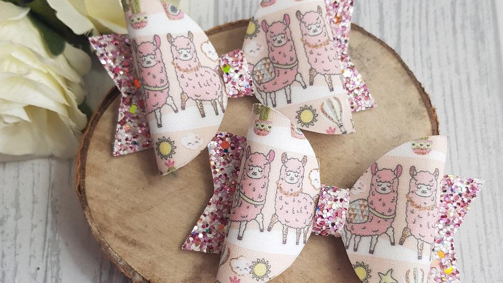 Llama pink hair bow