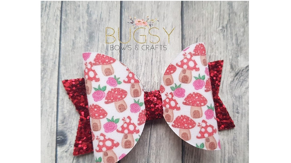Toadstool dolly hair bow