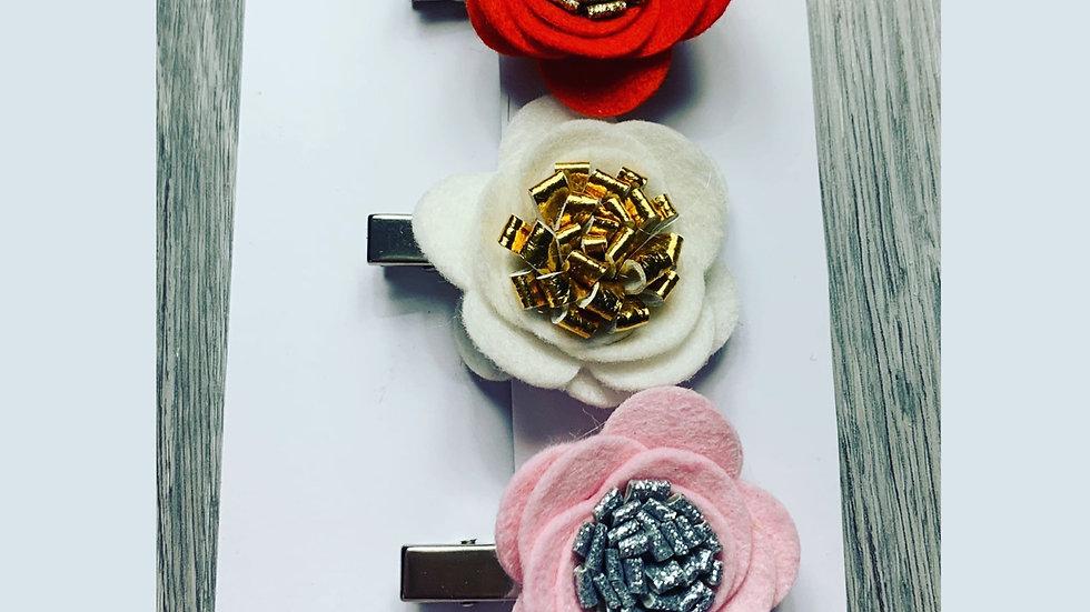 Floral fringe clip set