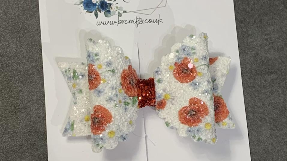 White glitter Poppy Bow