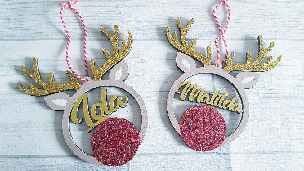 Personalised reindeer baubles