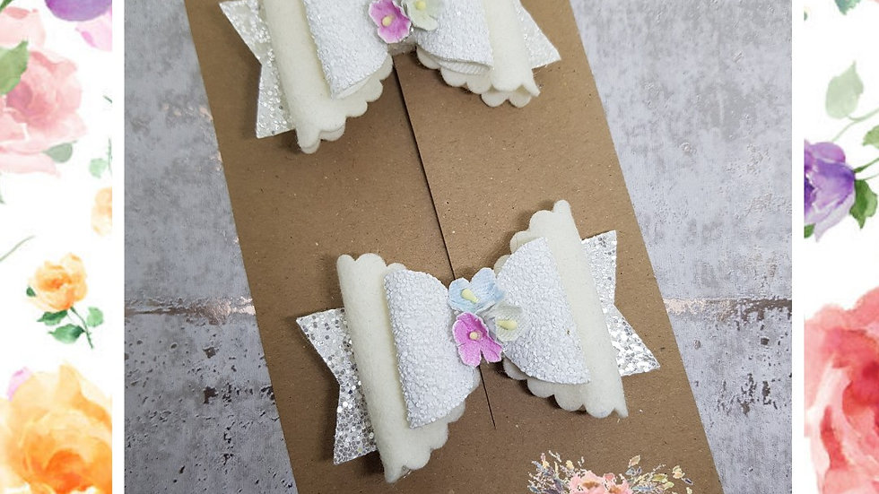 White floral double dolly bows