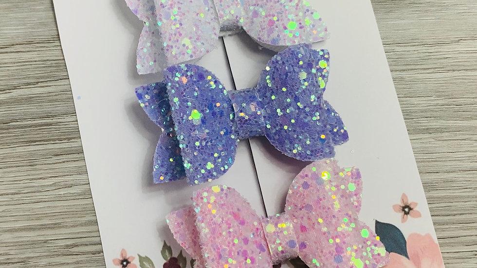 Pastel sparkly bow set