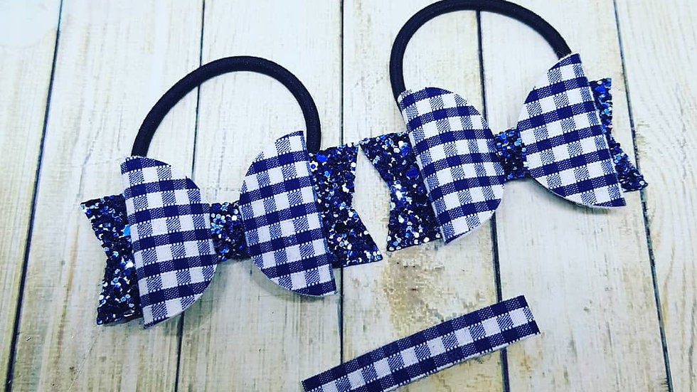 Gingham pigtail and fringe clip