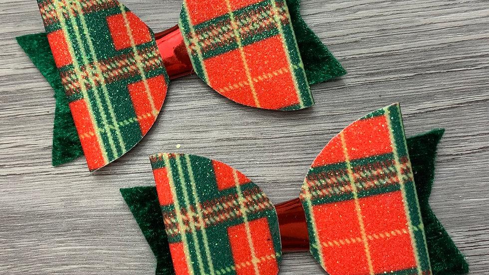 Sparkly tartan dolly bow