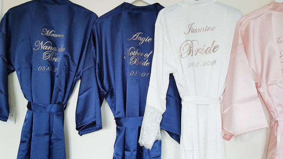 Silk bridal dressing gowns