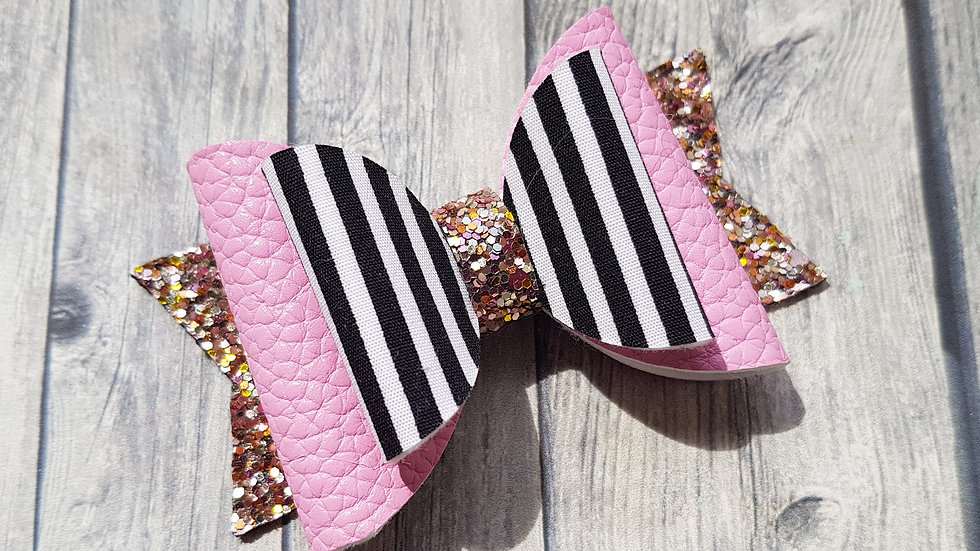 Pink and stripy bow