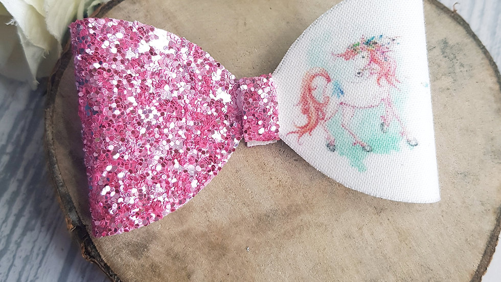 Pink Unicorn hair bow