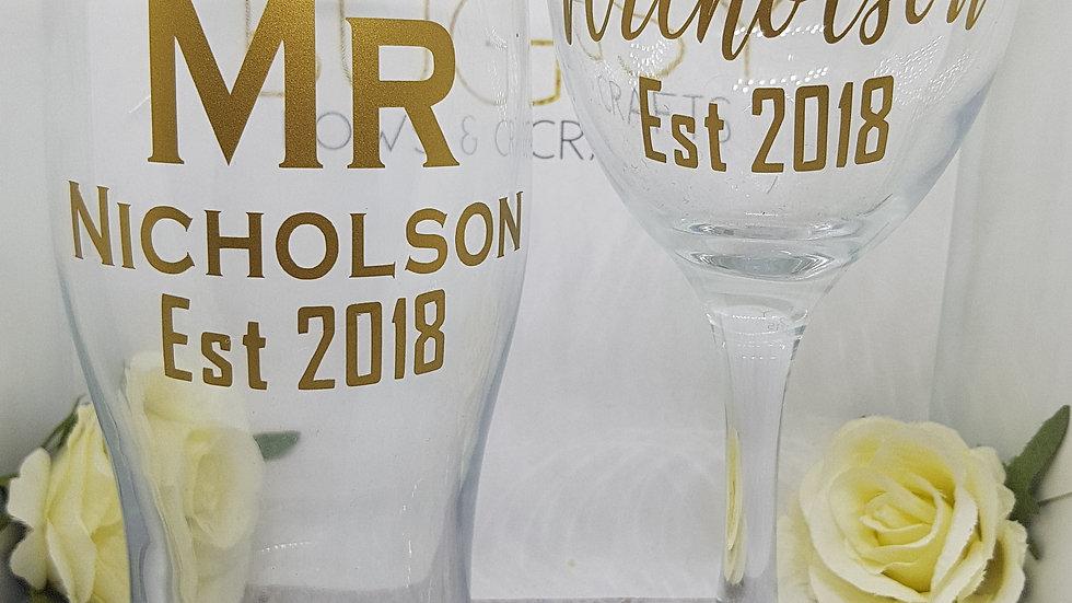 Bridal wine and groom beer glass set