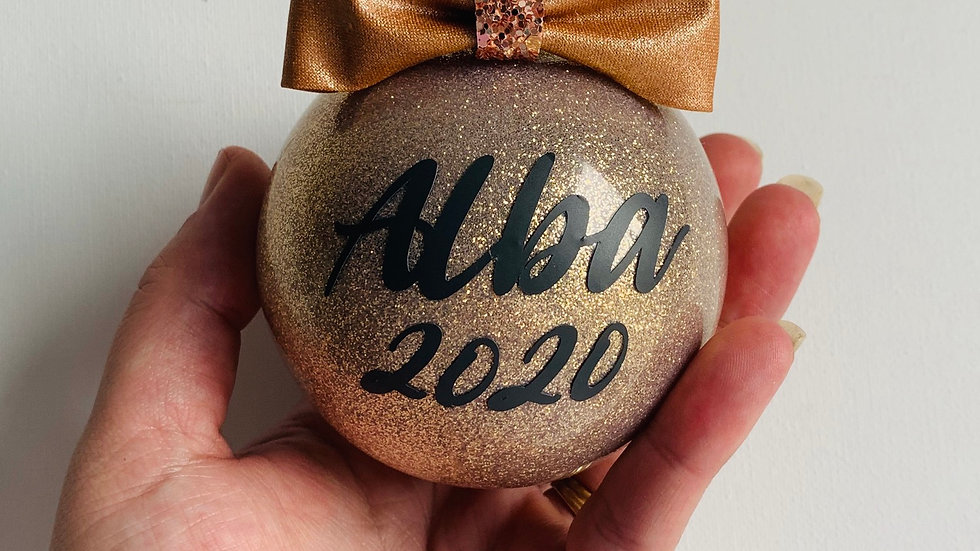 Personalised glitter glass baubles