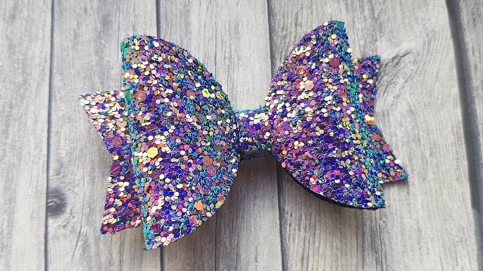 Sparkly iridescent hair bow
