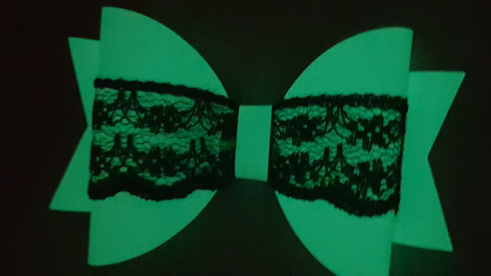 Glow in the dark lace bow
