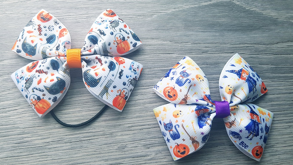 Halloween large double ribbon bow