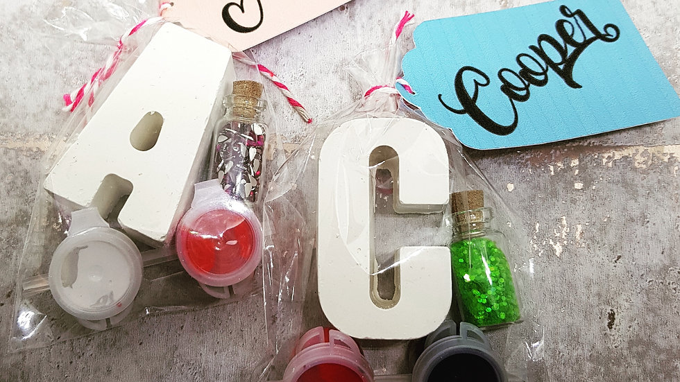Initial craft paint kits with personalised tag