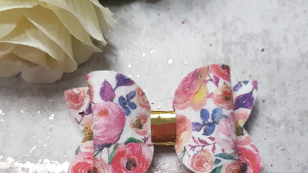 Soft suede floral hair bow