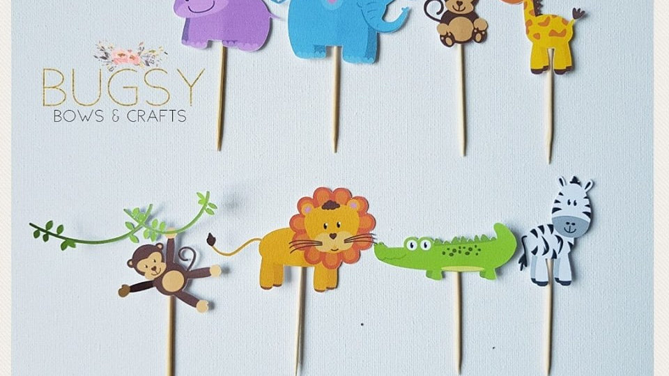 Zoo animal cupcake toppers