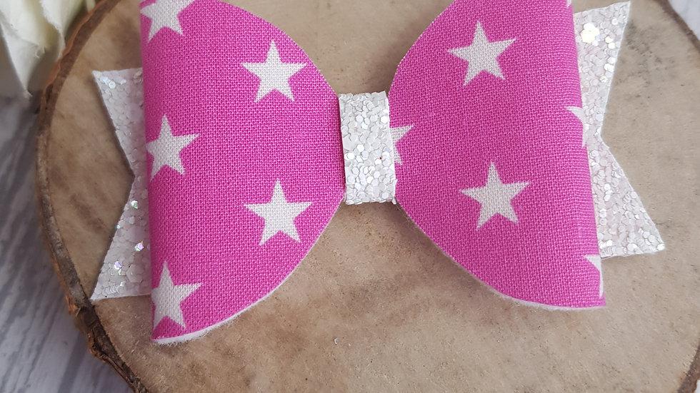 Pink star hair bow