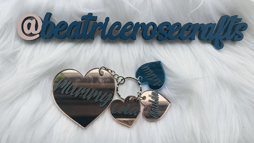 Parent and child heart keyring