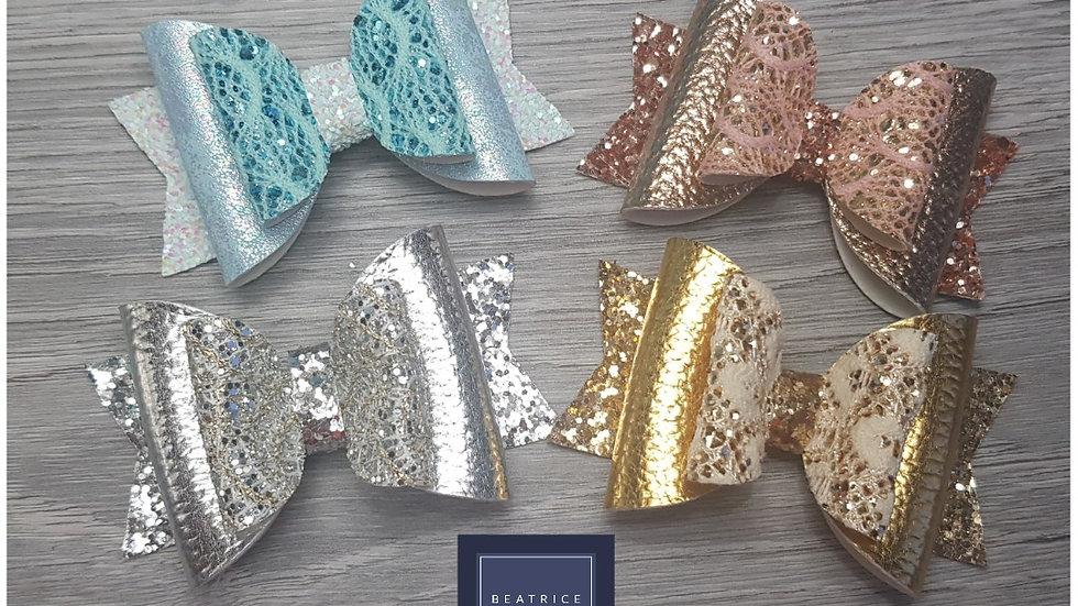 Lace metallic sparkle bow set of 4