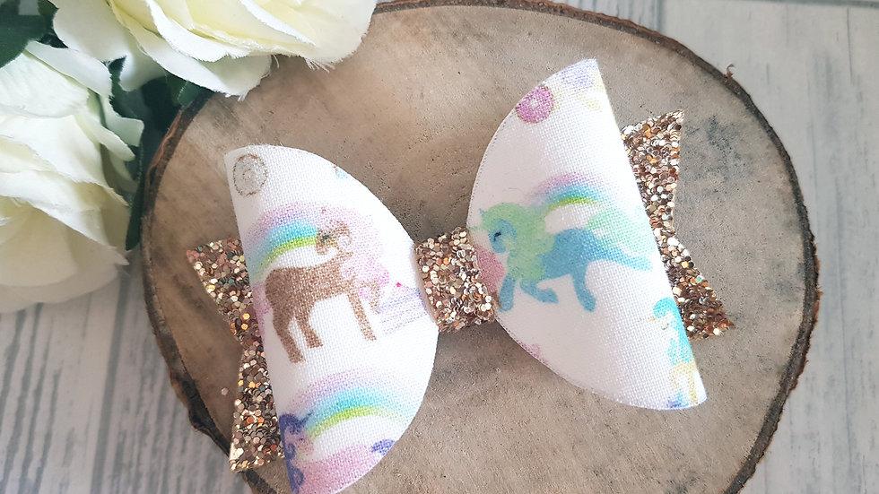 Pastel unicorn hair bow