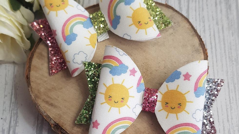 Rainbow and sun hair bow