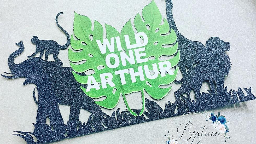 Wild one safari/ jungle themed cake topper