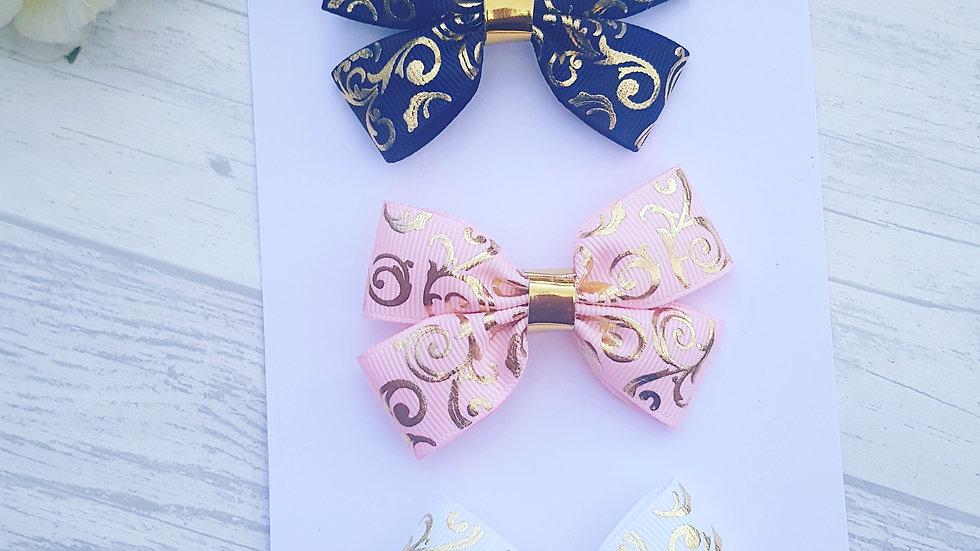 Gold damask ribbon set