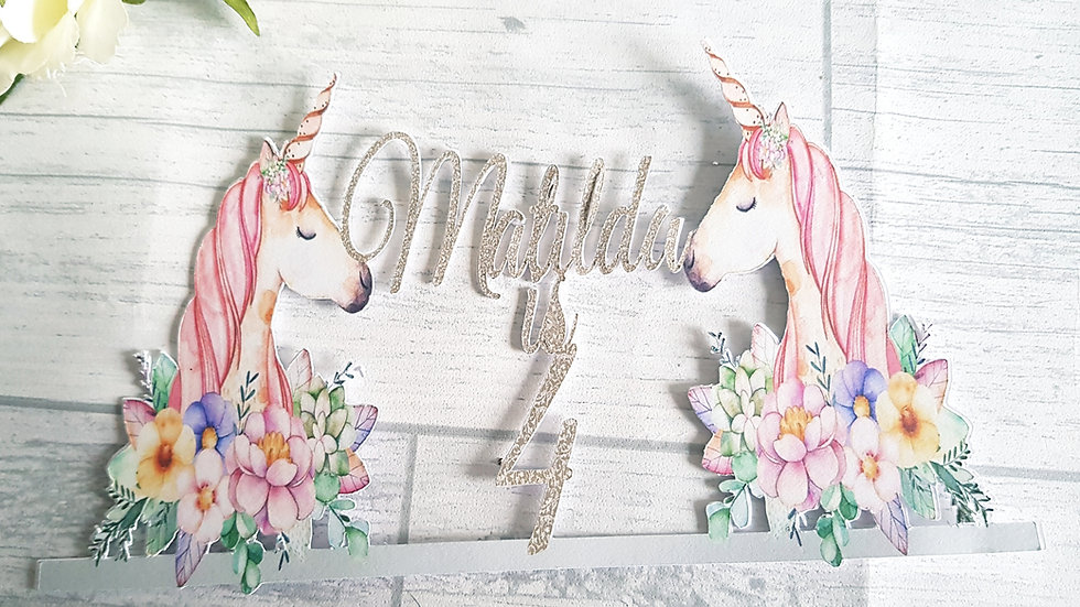 Unicorn floral cake topper