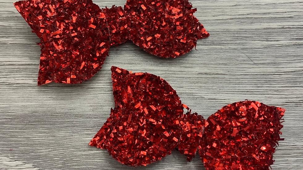Red tinsel hair bow