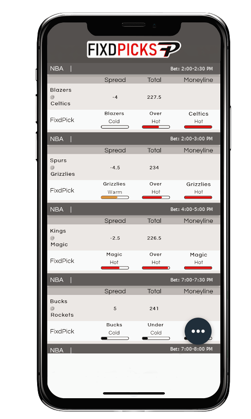 FixdPicks picks page on a mobile phone