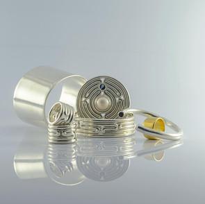ancientgreekjewellery ancient greek jewellery agj lavirinthos collection persephone bezelbangpe Daphne bangle imalia ring lavirinthos bangle lavirinthos chevalier ring