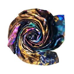 H E A L I N G _ Crepe satin silk shawl  135x135cm_._._._._