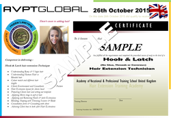 HAIR EXTENSION CERTIFICATE SAMPLE FRONT AVPT