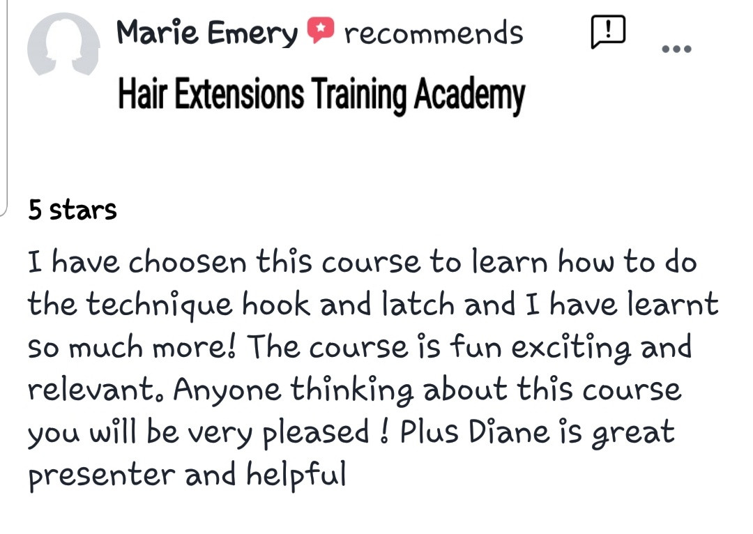 Hair Extensions Training Academy Testimonial 6