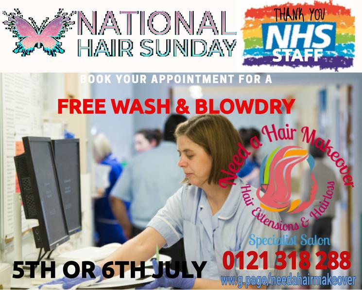 NHS FREE HAIR DO NATIONAL HAIR SUNDAY NE