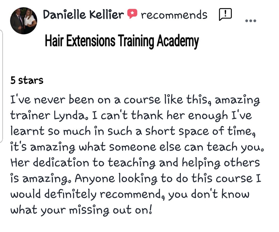 Hair Extensions Training Academy Testimonial 4