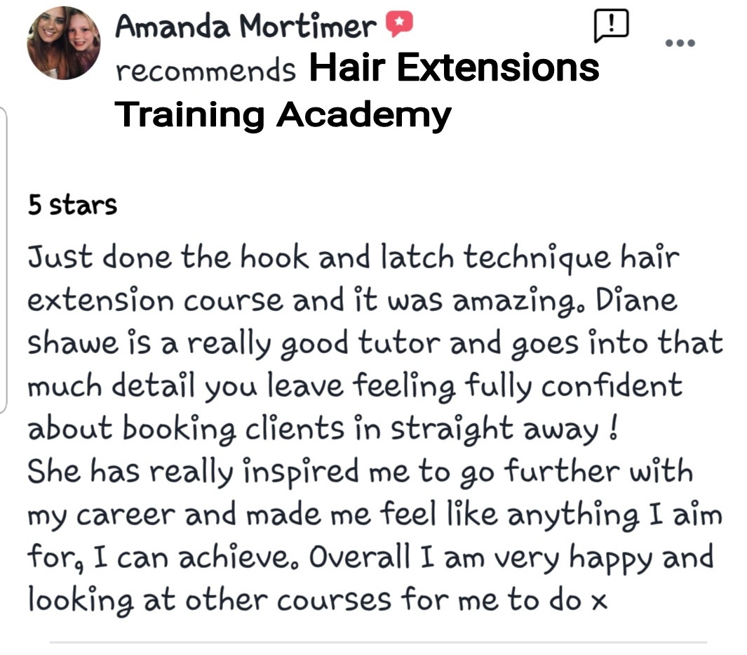 Hair Extensions Training Academy Testimonial 1