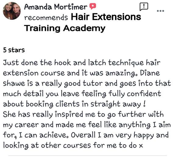 Hair Extensions Training Academy Testimonial 1