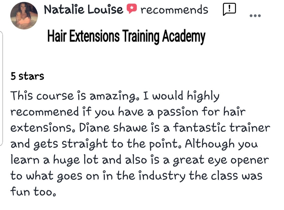 Hair Extensions Training Academy Testimonial 2