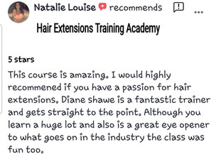 review by student on hair extensions training academy