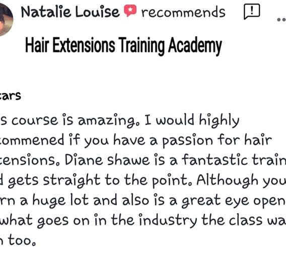 Hair Extensions Training Academy Testimonial 2