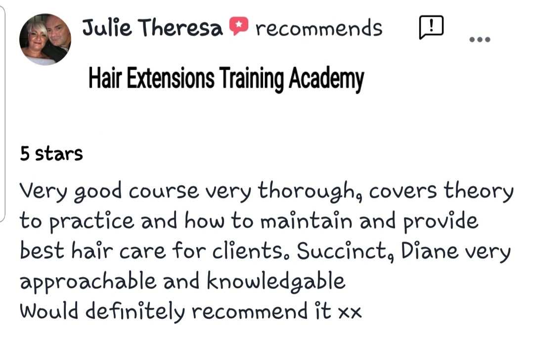 Hair Extensions Training Academy Testimonial 3