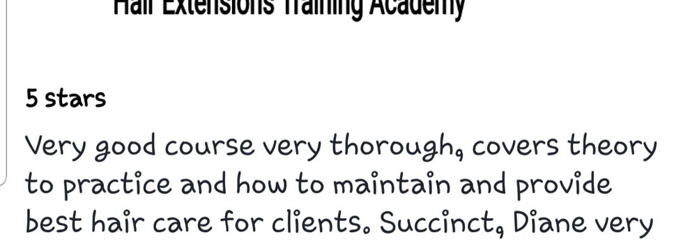 Hair Extensions Training Academy Testimonial 3
