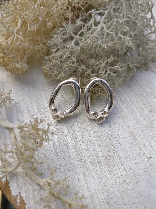 Cupped Lichen Loop Stud Earrings