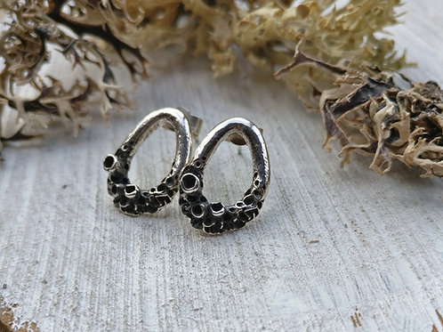 Leafy Lichen Loop Stud Earrings